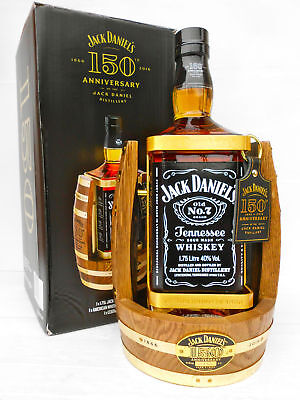 """Jack Daniels 150th Anniversary 1.75L Timber Cradle Rare With """"150th"""" Bottle!!!!"""