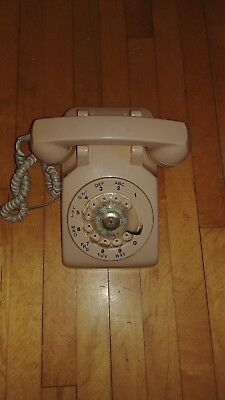 Vtg. Beige Rotary Wired Telephone Made in Canada