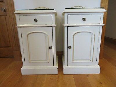 A PAIR of Victorian style Bedside cabinets/pot cupboards solid mahogany painted