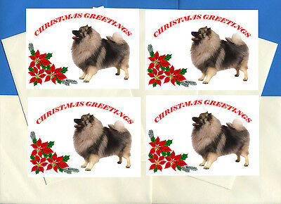 Keeshond Pack Of 4 Cards Dog Print Greeting Christmas Cards
