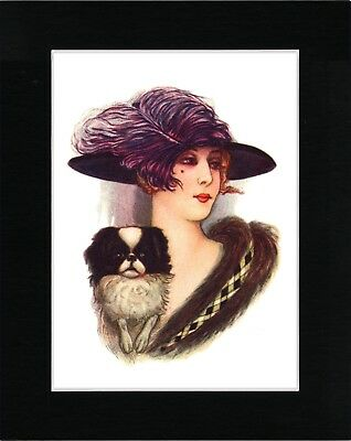 Japanese Chin And Pretty Lady With Large Hat Lovely Dog Art Print Ready Matted