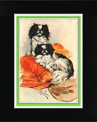 Japanese Chin Two Dogs Charmingvintage Style Dog Art Print Matted Ready To Frame