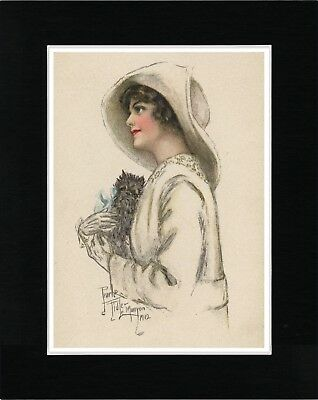 Lady Holding An Affenpinscher Lovely Image Vintage Style Dog Print Ready Matted