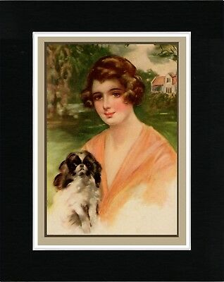 Pretty Lady Holding A Japanese Chin Lovely Vintage Style Dog Art Print Matted