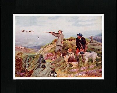 Pointer English Shooting Scene Vintage Style Dog Art Print Ready Matted