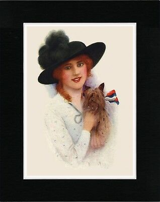 Lady Holding A Yorkshire Terrier Old Style Dog Art Print Ready Matted