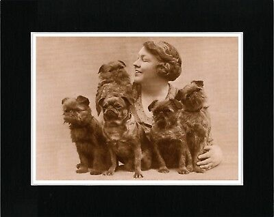 Lady And Her Brussels Griffon Dogs Lovely Vintage Style Dog Print Ready Matted