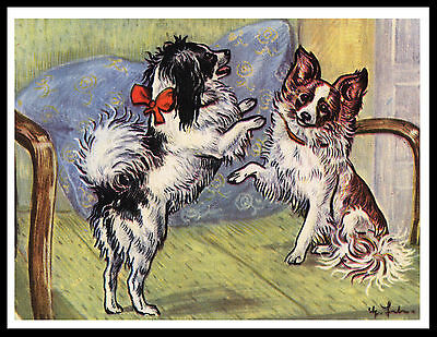 Papillon Two Little Dogs Charming Vintage Style Dog Art Print Poster