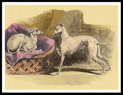 Italian Greyhound Dogs Charming Vintage Style Dog Art Print Poster
