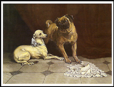 Italian Greyhound And Pug Charming Vintage Style Image Dog Art Print Poster