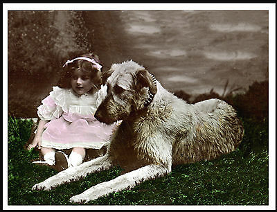 Irish Wolfhound And Little Girl Charming Vintage Style Image Dog Print Poster