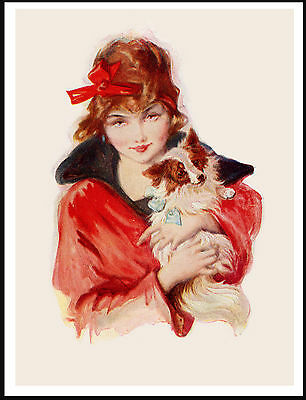Pretty Girl Holding A Papillon Charming Vintage Style Dog Art Print Poster