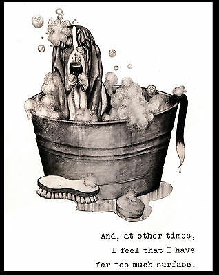 Basset Hound In The Bath Tub Lovely Comic Dog Art Print Poster