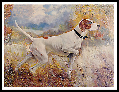 Pointer Dog At Work Great Vintage Style Dog Print Poster