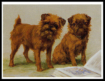 Brussels Griffon Little Dogs With A Book Lovely Vintage Style Dog Print Poster