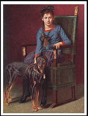 Doberman Pinscher Young Lady And Her Dog Lovely Dog Print Poster