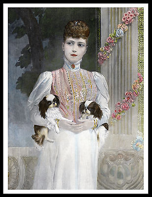 Queen Alexandra And Her Japanese Chin Dogs Lovely Vintage Style Dog Print Poster