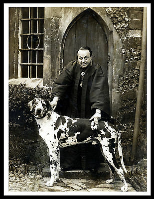Priest And His Harlequin Great Dane Vintage Style Dog Photo Print Poster