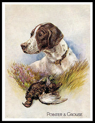 Pointer And Grouse Great Vintage Style Dog Art Print Poster