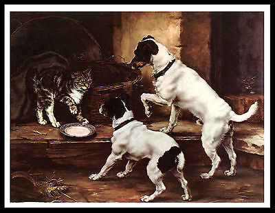 Smooth Fox Terrier Dogs And Cat Vintage Style Dog Print Poster