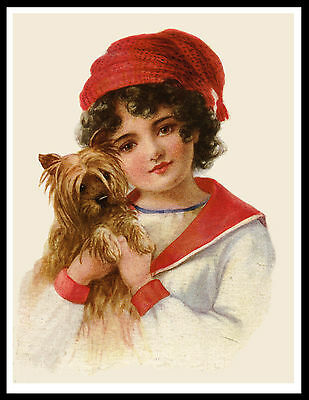 Young Girl Holding A Yorkshire Terrier Lovely Vintage Style Dog Art Print Poster