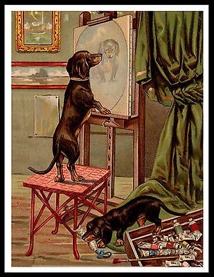 Dachshund Dogs In Artists Studio Lovely Vintage Style Dog Art Print Poster