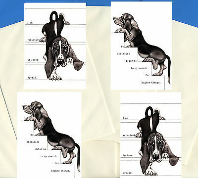 Basset Hound Pack Of 4 Charming Comic Dog Print Greetings Note Cards #3