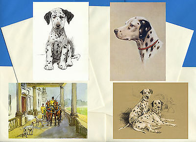 Dalmatian Pack Of 4 Vintage Style Dog Print Greetings Note Cards #1