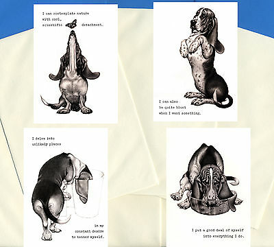 Basset Hound Pack Of 4 Charming Comic Dog Print Greetings Note Cards #2