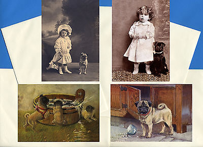 PUG PACK OF 4 VINTAGE STYLE DOG PRINT GREETINGS NOTE CARDS #6