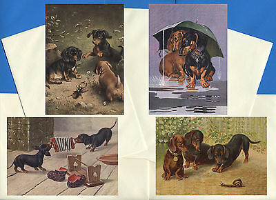 Dachshund Pack Of 4 Vintage Style Dog Print Greetings Note Cards #5