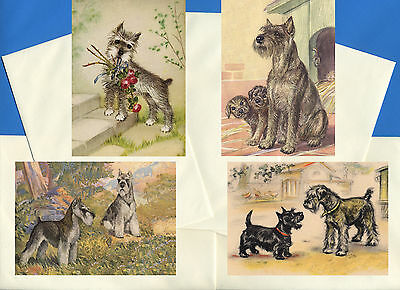 Schnauzer Pack Of 4 Vintage Style Dog Print Greetings Note Cards
