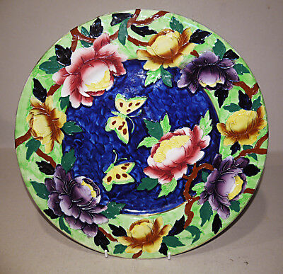 Maling Embossed Peony Plaque - 1930's