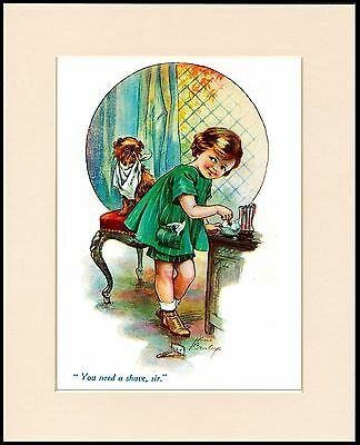 Brussels Griffon Little Girl Shaving Dog Lovely Print Mounted Ready To Frame