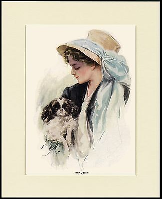 Japanese Chin Little Dog And Pretty Lady Lovely Print Mounted Ready To Frame