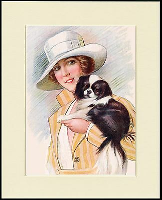Japanese Chin Pretty Lady And Little Dog Lovely Print Mounted Ready To Frame