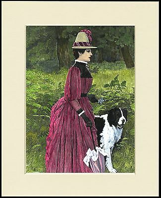 Newfoundland Dog And Victorian Lady Charming Print Mounted Ready To Frame