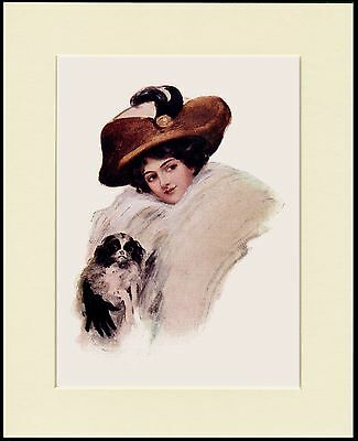 Japanese Chin Pretty Lady With A Brown Hat Dog Print Mounted Ready To Frame