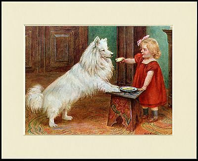 IRISH WOLFHOUND AND LITTLE GIRL CHARMING DOG PRINT MOUNTED READY TO FRAME