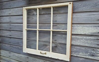 Architectural Salvage ~ 6 PANE 30x28 ANTIQUE WOOD WINDOW SASH, WITH HARDWARE