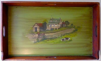 ANTIQUE Country PRIMITIVE Hand Painted SIGNED Wood Tray Farm Scene Dove Tailed