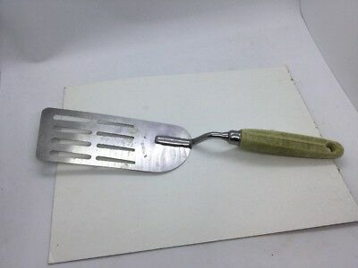 Vintage Ekco Eterna Long Spatula Stainless Steel w/ Wood Handle Measures 12""
