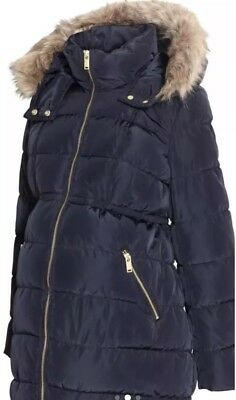H&M Mama Maternity Womens XL Quilted Jacket Coat Parka extra Large Puffer navy