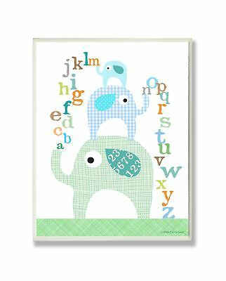 The Kids Room by Stupell Blue Elephants With Alphabet Rectangle Wall Plaque, ...