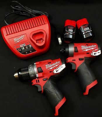 Milwaukee 2504-20 Hammer Drill & 2553-20 Impact Driver 12V  + 2 batts & charger