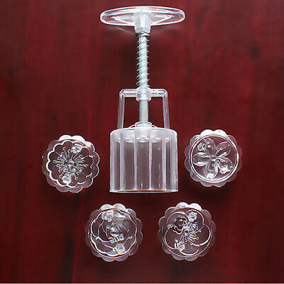 50g Mooncake Mold + 4 Flower Stamps DIY Baking Pastry Round Moon Cake Mould Tool