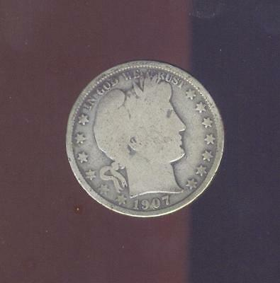 Nice Good - Very Good 1907-O 90% Silver Barber Half Dollar,  Free USA Shipping