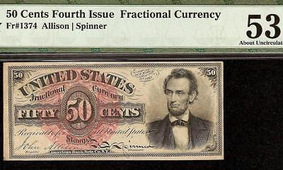 50 CENT LINCOLN FRACTIONAL CURRENCY 1869 -1874 UNITED STATES NOTE Fr 1374 PMG 53