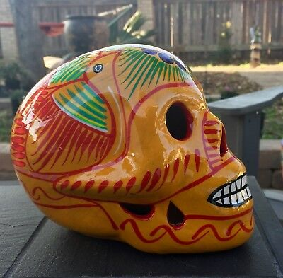 TALAVERA MEXICAN POTTERY - Day Of The Dead - Medium SKULLS (Assorted colors)