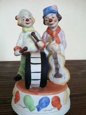 Vintage Porcelain Clow Music Box ,, Send In The Clown'' Made In Taiwan R.o.c